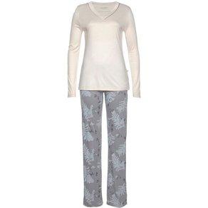 HUBER Pyjama Northern Lights mit Blätter-Print