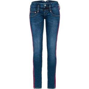 Herrlicher Röhrenjeans PITCH SLIM Low Waist Powerstretch-Jeans mit sportiven roten Galon-Streifen