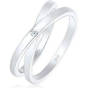 Diamore Diamantring Wickelring Cross Diamant 0 02 ct 925 Silber