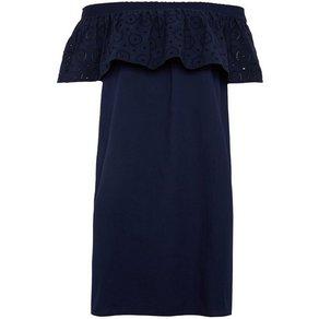 TOM TAILOR Denim Sommerkleid Off-Shoulder Kleid mit Lochstickerei