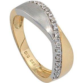 Jobo Diamantring 585 Gold bicolor mit 16 Diamanten