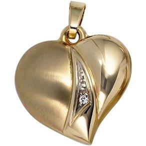 Jobo Herzanhänger Herz 333 Gold mit Zirkonia