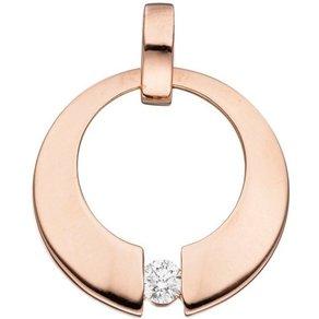 Jobo Runder Anhänger rund 585 Rosegold mit 1 Diamant