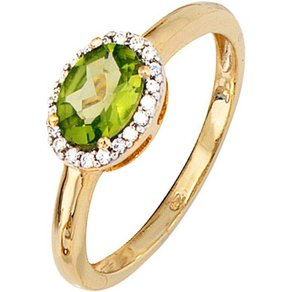 Jobo Diamantring 585 Gold bicolor mit 20 Diamanten und Peridot