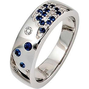 Jobo Diamantring 585 Weissgold mit Safir und 13 Diamanten