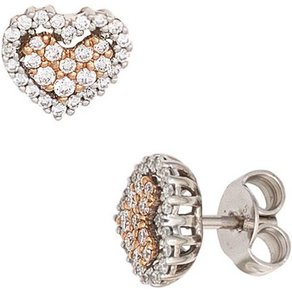 Jobo Paar Ohrstecker Herz 585 Weissgold Rosegold mit 60 Diamanten