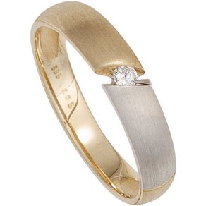 Jobo Solitärring 585 Gold bicolor mit Diamant 0 05 ct