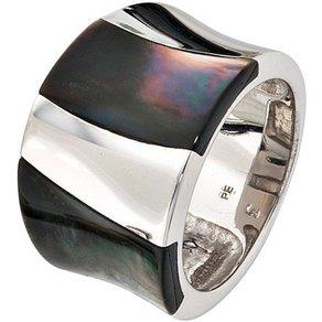 Jobo Silberring breit 925 Silber mit Perlmutt