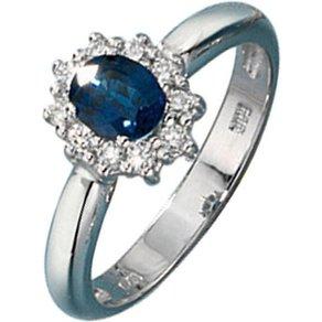 Jobo Diamantring 585 Weissgold mit Safir und 10 Diamanten
