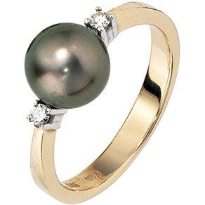 Jobo Perlenring 585 Gold mit Tahiti-Zuchtperle und 2 Diamanten