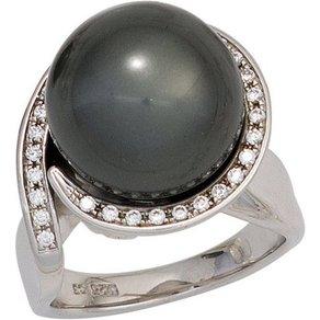 Jobo Perlenring 925 Silber mit synthetischer Perle und Zirkonia