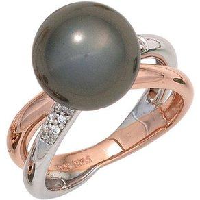 Jobo Perlenring 925 Silber mit Muschelkern-Perle und Zirkonia
