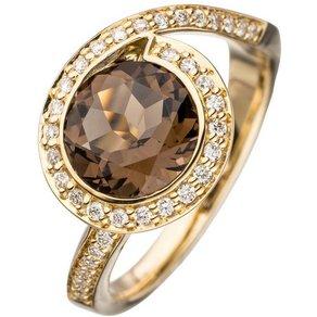 Jobo Diamantring 585 Gold mit Rauchquarz und 36 Diamanten