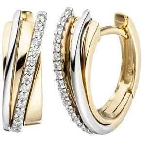 Jobo Paar Creolen 585 Gold bicolor mit 32 Diamanten