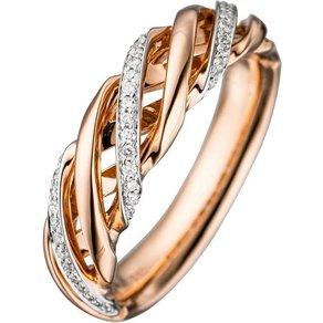 Jobo Diamantring 585 Rosegold bicolor mit 36 Diamanten