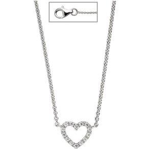 Jobo Collier Herz 925 Silber mit Zirkonia 42 cm