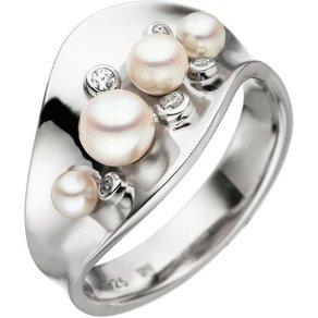 Jobo Perlenring breit 925 Silber Akoya-Zuchtperlen und Zirkonia