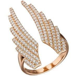 Jobo Fingerring Flügel 925 Silber rosegold vergoldet mit Zirkonia