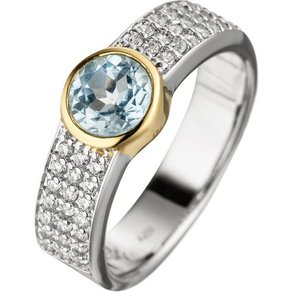 Jobo Fingerring 925 Silber bicolor vergoldet Blautopas Zirkonia
