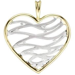 Jobo Herzanhänger Herz 585 Gold bicolor mit 10 Diamanten