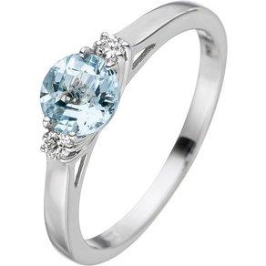 Jobo Diamantring 585 Weissgold mit Aquamarin und 2 Diamanten