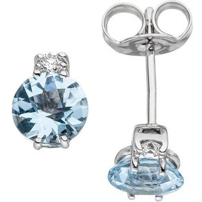Jobo Paar Ohrstecker 585 Weissgold mit 2 Diamanten und Aquamarin