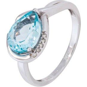 Jobo Diamantring 585 Weissgold mit Blautopas und 5 Diamanten