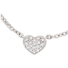Jobo Kette mit Anhänger Herz 585 Weissgold 26 Diamanten 45 cm