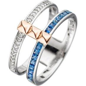 Jobo Diamantring breit 585 Gold bicolor mit Safir und 22 Diamanten