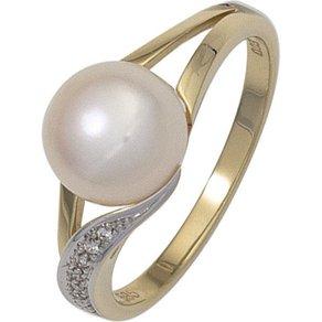 Jobo Perlenring 585 Gold mit Süsswasser-Zuchtperle und 6 Diamanten