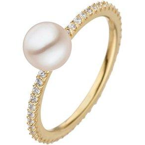 Jobo Perlenring 925 Silber vergoldet Süsswasser Perle und Zirkonia