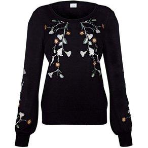 Alba Moda Pullover mit kontrastfarbiger Stickerei