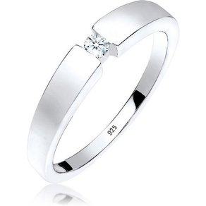 Elli Diamantring Klassisch Bandring Diamant 0 06 ct 925 Silber