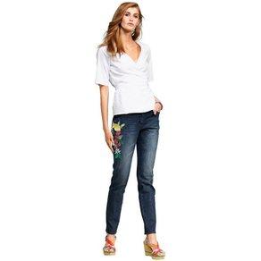Alba Moda Skinny-Jeans mit Stickereien Zitronenmotiv