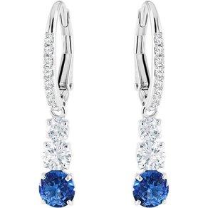 Swarovski Paar Ohrhänger Attract Trilogy Round blau rhodiniert 5416154 mit Swarovski Kristallen
