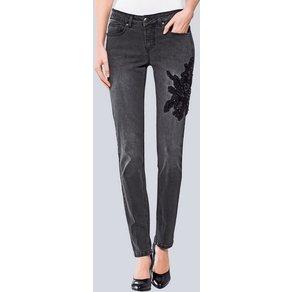 Alba Moda Skinny Jeans mit Zierstickerei an einem Hosenbein