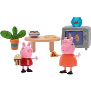 Jazwares PEPPA Wohnzimmer Spielsets mit 2 Figuren und Zubehör