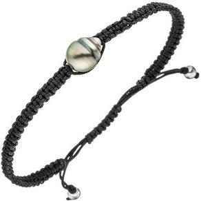 Jobo Armband Stoff mit 925 Silber und Tahiti-Zuchtperle 23 cm