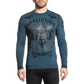 AFFLICTION Langarmshirt mit schimmerndem Frontdruck