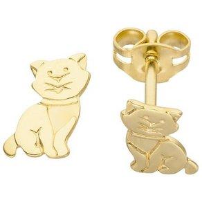 Jobo Paar Ohrstecker Katze 333 Gold