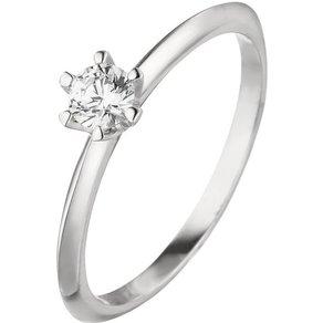 Jobo Solitärring 585 Weissgold mit Diamant Brillant 0 15 ct