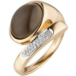 Jobo Diamantring 585 Rosegold mit 18 Diamanten 1 Mondstein