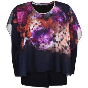 Doris Streich Shirtbluse mit buntem Layer Blumenmuster