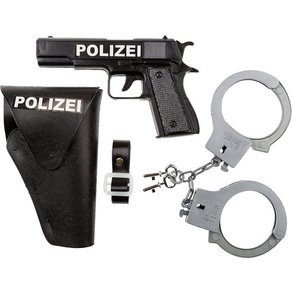 Idena Polizeiset Pistole Halfter Handschellen 3tlg