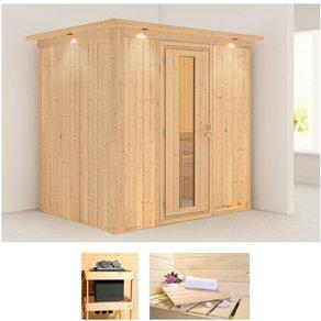Karibu Sauna Bodin 210x165x202 cm ohne Ofen mit Dachkranz