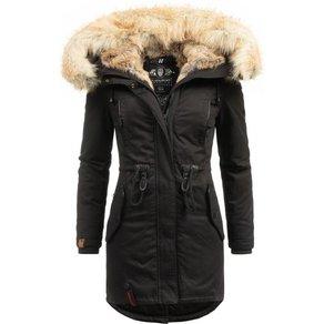 Navahoo Wintermantel Bombii stylischer Damen Winterparka mit Kunstfell-Kapuze