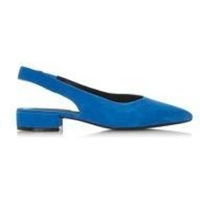 Dune London Celene Block High Cut Open Court Slingpumps mit flachem Absatz
