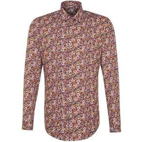 Jacques Britt Businesshemd Slim Fit Slim Fit Langarm Kentkragen Floraler Print