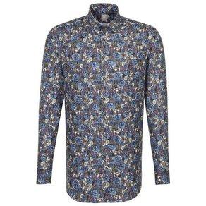 Jacques Britt Businesshemd Custom Fit Custom Fit Langarm Haifischkragen Print