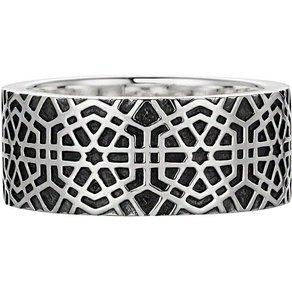 CAÏ Ring 925 Sterling Silber oxidiert-poliert Mosaik